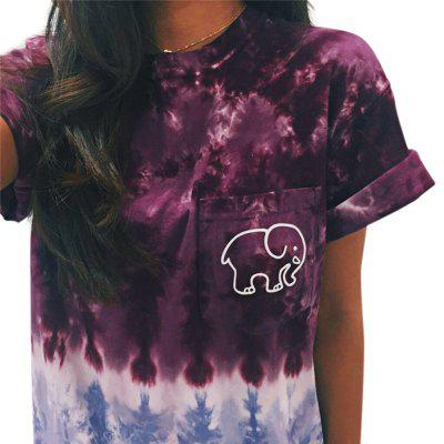 Casual Print Front Pocket Women T-shirt