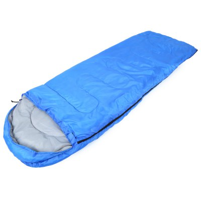Buy SAPPHIRE BLUE Outdoor Cotton Camping Hooded Envelope Sleeping Bag for $20.96 in GearBest store