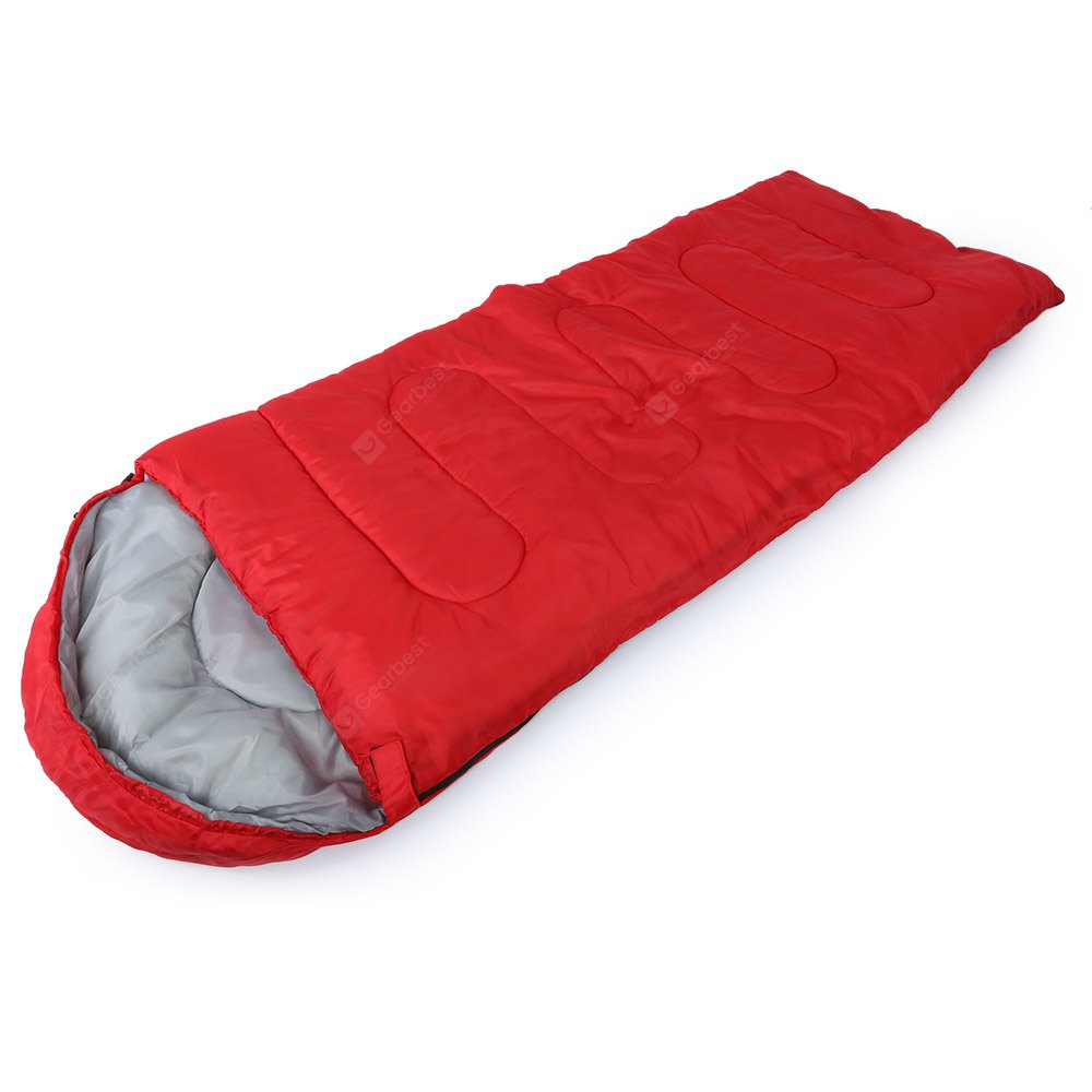 RED Outdoor Cotton Camping Hooded Envelope Sleeping Bag