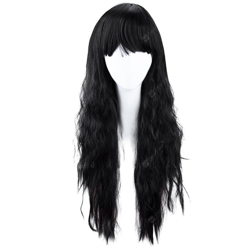 Black Full Bangs Long Half Curly Hair Wig