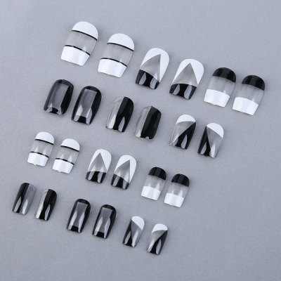 Black White Medium Long Manicure Patch Nail Sticker