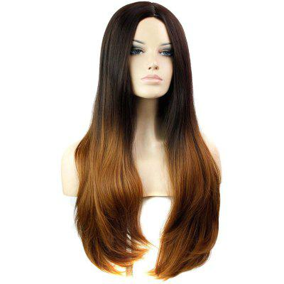 Slightly Curled Long Hair Wigs Gradient Color Black + Brown