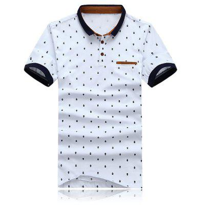 Print Polo Short Sleeve Stretchy Men Casual T-shirt