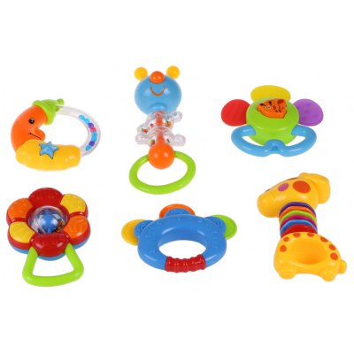 Baby 6pcs Teethers Rattles Toy Set
