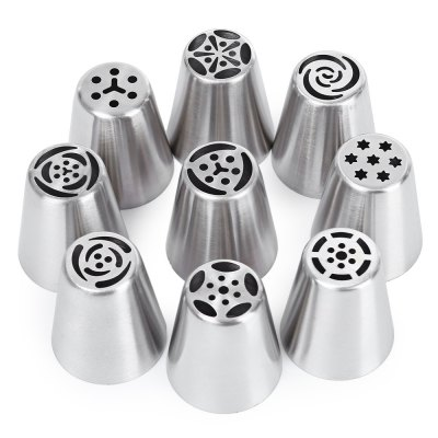 9pcs Durable Tube Buses Pastry Tip Piping