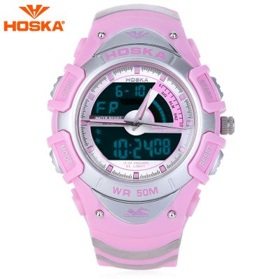 HOSKA HD011B Dual Movt LED Children Sport Watch