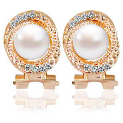 Faux Pearl Rhinestone Hollow Overlap Stud Earrings