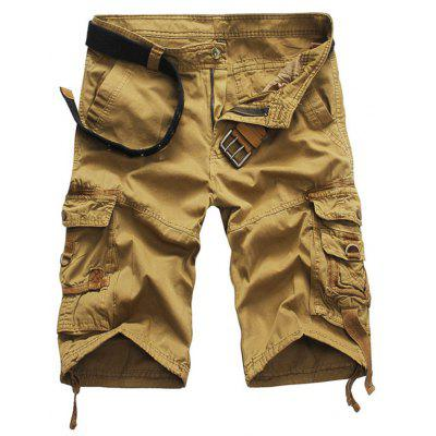 Casual Mid Waist Pure Color Loose-fitting Cotton Men Shorts