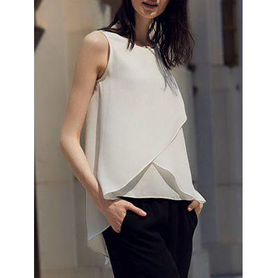 Buy Chic Round Collar Pure Color Chiffon Women Wrap Tank Top WHITE L for $25.24 in GearBest store