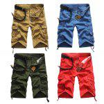 Buy Casual Mid Waist Pure Color Loose-fitting Cotton Men Shorts 31 ARMY GREEN