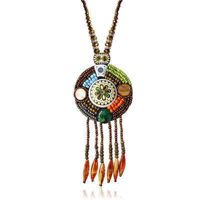 Bohemia Flower Bead Ceramics Weave Sweater Necklace