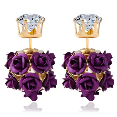 3D Rose Rhinestone Embellishment Hollow Stud Earrings