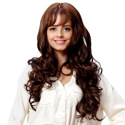 Women Air Bangs Heat Resistant Long Curly Wavy Full Hair Wigs