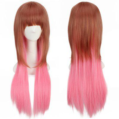 Women Heat Resistant Long Curly Hair Wigs Brown + Pink