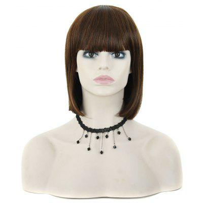 Full Bangs Medium Straight Hair Wigs BOB Style Natural Brown