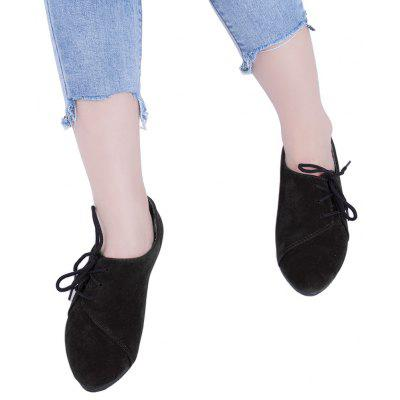 Buy Lace Up Round Toe Suede Women Casual Flat Shoes BLACK 35 for $16.77 in GearBest store