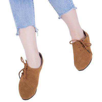 Lace Up Round Toe Suede Women Casual Flat Shoes