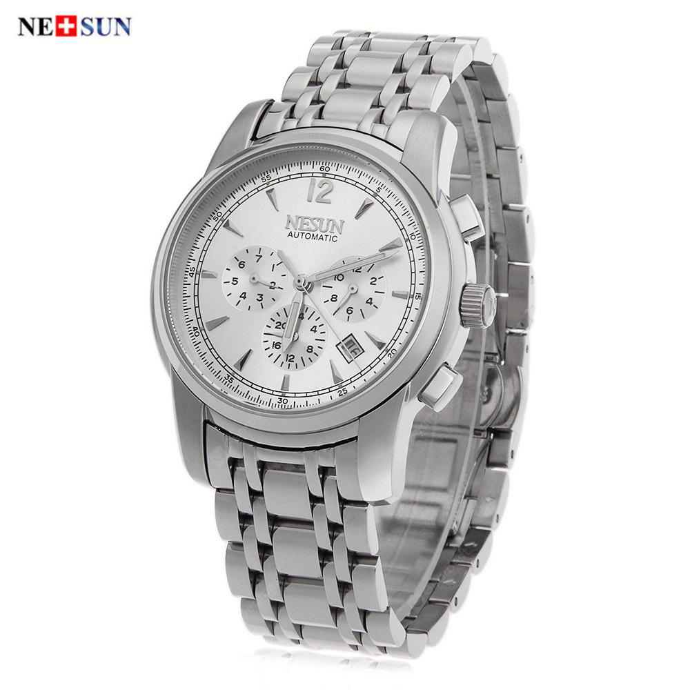 Nesun 980 Male Automatic Self Wind Mechanical Watch SILVER AND WHITE