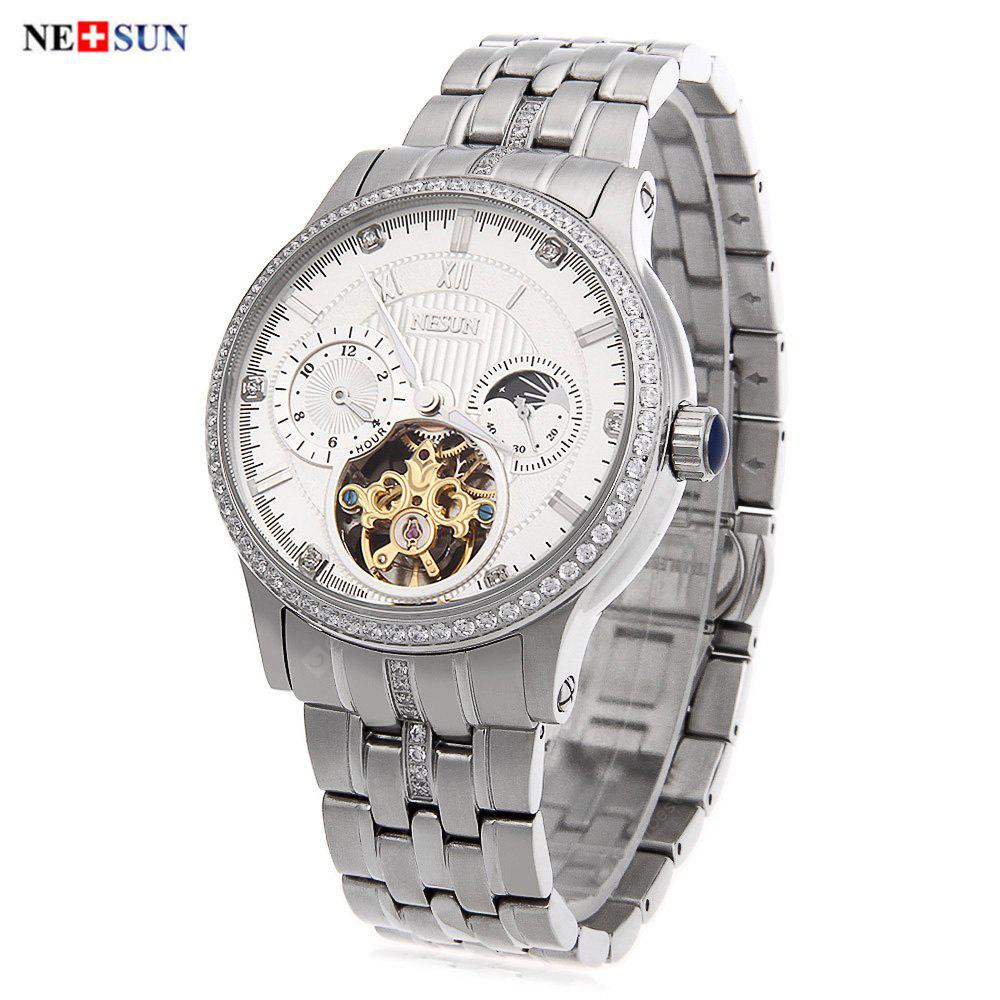 Nesun 9093 Male Automatic Self Wind Mechanical Watch SILVER AND WHITE