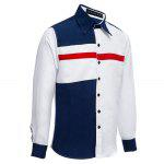 Patchwork Color Blocking Turn-back Collar Casual Shirt - WHITE