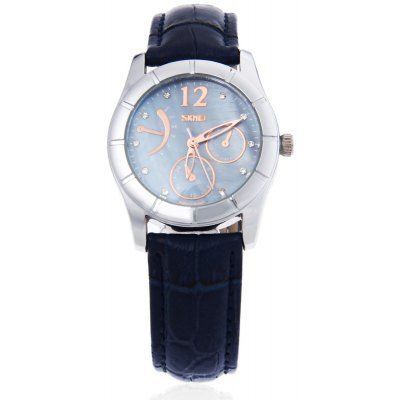 SKMEI 6911 Women Quartz Watch Leather Strap Wristwatch