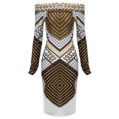 Trendy Off The Shoulder Print Slim Women Mini Dress