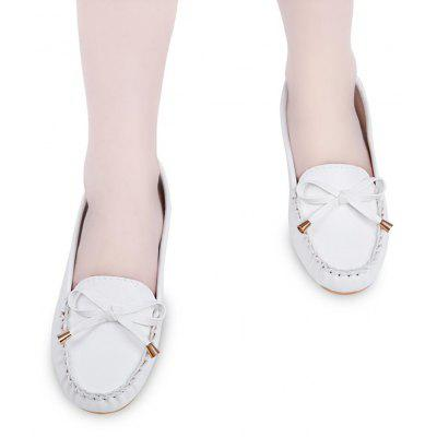 Round Toe Bowknot Flat Loafer Shoes