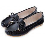 Round Toe Bowknot Flat Loafer Shoes - BLACK