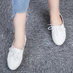 Solid Color Lace Up Casual Flat Shoes - WHITE