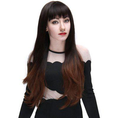Full Bangs Slightly Curly Long Hair Wigs Natural Black Brown