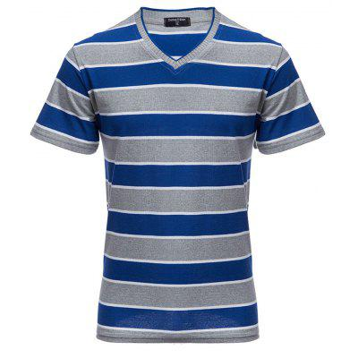 V Neck Stripe Short Sleeve T-shirt