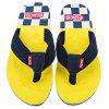 Color Block Skid Resistance Beach Flip Flops - JAUNE