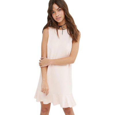 Casual Zipper Ruffle Loose Wowen Dress