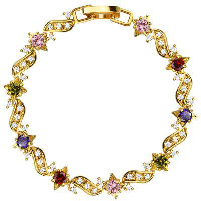 18k Gold Plated Cubic Zirconia Crystal Bracelet for Women