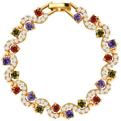 Crystal 18k Gold Plated Cubic Zirconia Bracelet for Women