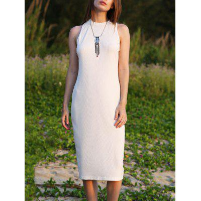 Women Jewel Collar Sleeveless Pure Color Sheathy Knitted Dress
