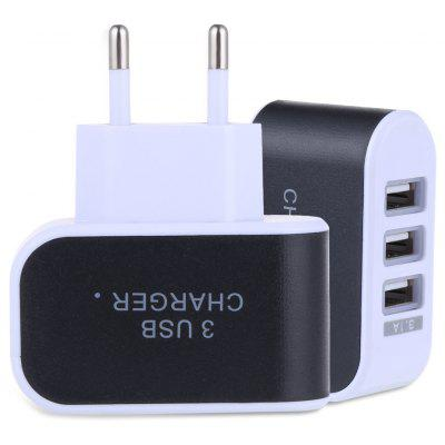 3 USB Ports 5V 3A Travel Charger Adapter - EU PLUG BLACK