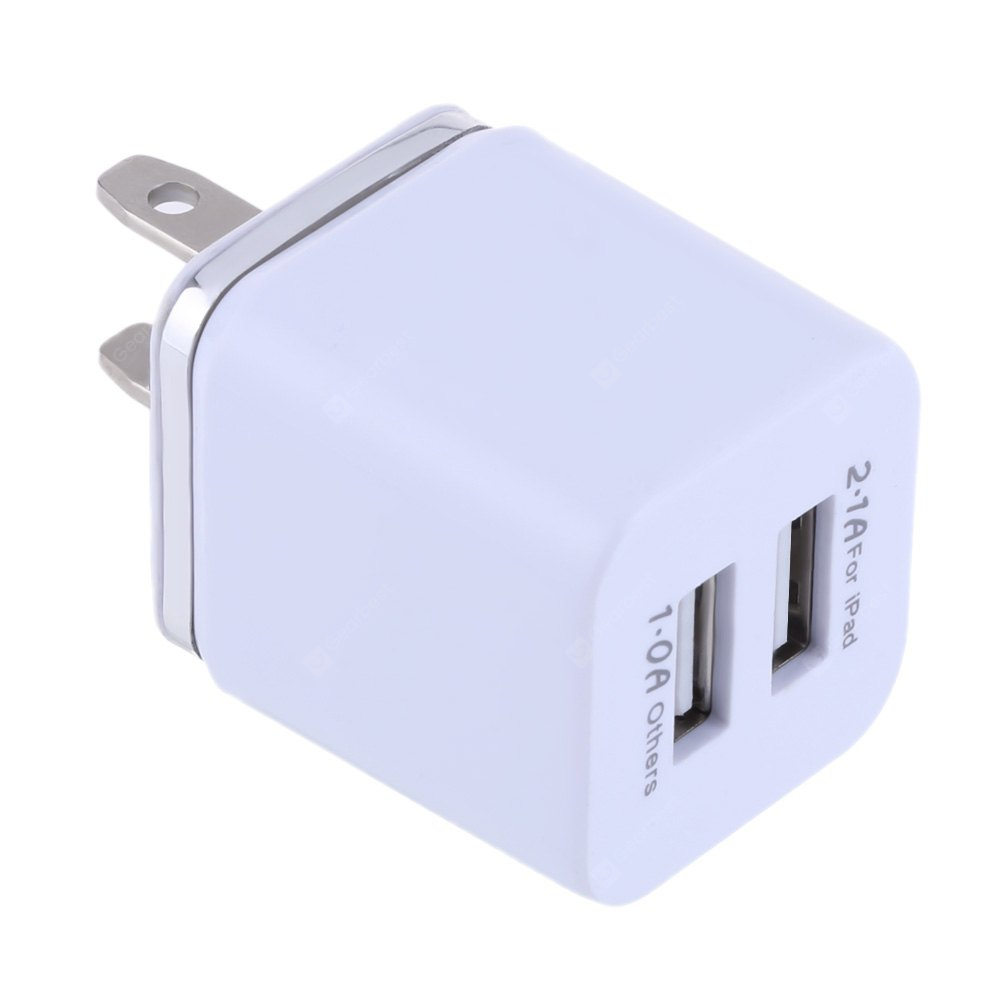 Gearbest Double USB Ports Coloured Gilt-edged Charger Adapter