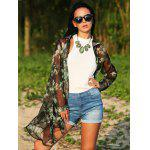 Women Turn Down Collar Long Sleeve Floral Print  Chiffon Blouse - BLACK AND GREEN