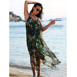Buy Spaghetti Strap Floral Print Chiffon Asymmetrical Women Dress M BLACK AND GREEN