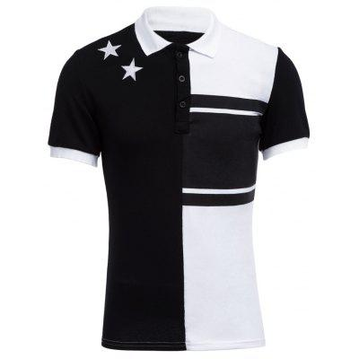 Colour Block Stars Design Collier Tournevis Hommes Chemise Casual