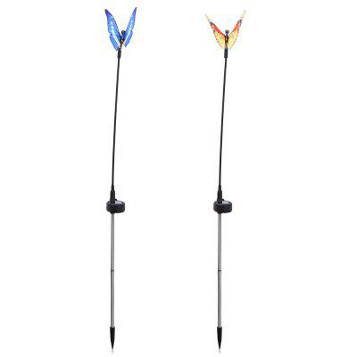 2pcs Solar Powered RGB LED Fiber Optic Butterfly Light