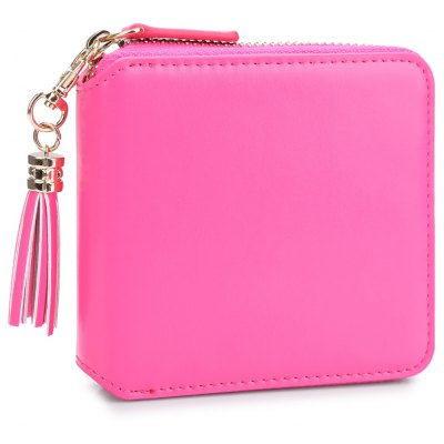 Guapabien Detachable Tassel Solid Color Zipper Square Wallet