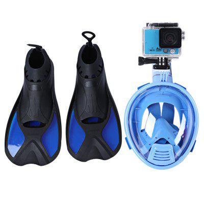 Kids Ocean View Snorkel Set Full Face Mask Ajustable Fins
