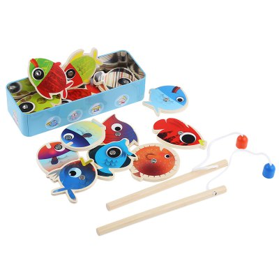 Kids Magnetic Wooden Fishing Game Playset Educational Toy