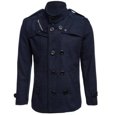 Male Zipper Design Double-Breasted Overcoat