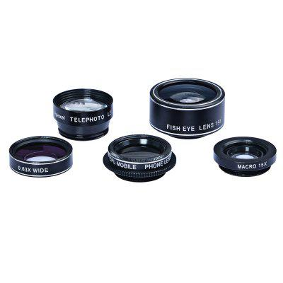 APEXEL APL - DG5 5 in 1 Camera Phone Lens KitPhone Lenses<br>APEXEL APL - DG5 5 in 1 Camera Phone Lens Kit<br><br>Package Contents: 1 x Fisheye Lens, 1 x  Wide Angle Lens, 1 x Macro Lens, 1 x Telephoto Lens, 1 x CPL Lens, 1 x  Clip, 4 x Lens Cover, 1 x English User Manual, 1 x Zipper Bag, 1 x Cleaning Cloth<br>Package Size(L x W x H): 11.00 x 8.00 x 5.00 cm / 4.33 x 3.15 x 1.97 inches<br>Package weight: 0.130 kg<br>Product weight: 0.090 kg