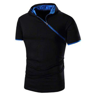 Buy BLUE AND BLACK Men Solid Color Inclined Zipper Design Hooded Shirts for $14.77 in GearBest store