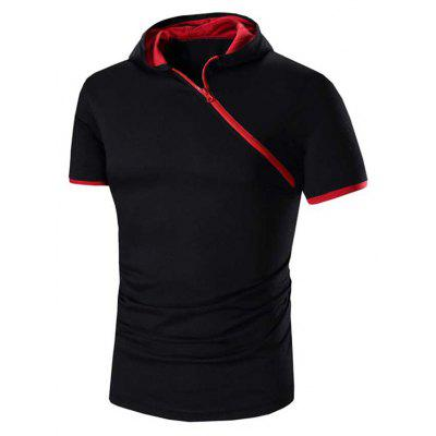 Buy RED WITH BLACK Men Solid Color Inclined Zipper Design Hooded Shirts for $14.77 in GearBest store