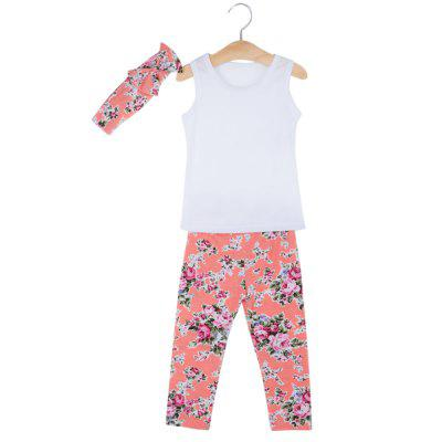 3pcs Lovely Girls Round Neck Vest Trousers with Headband